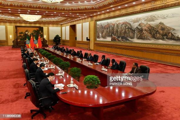 Ethiopia's Prime Minister Abiy Ahmed attends a meeting with Chinese President Xi Jinping at the Great Hall of the People in Beijing on April 24 2019