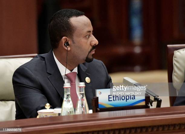 Ethiopia's Prime Minister Abiy Ahmed attends a roundtable summit session on the final day of the Belt and Road Forum in Beijing on April 27 2019...