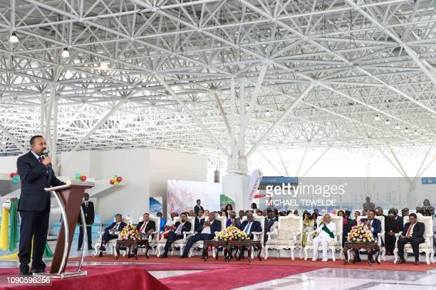 Ethiopia's Prime Minister Abiy Ahmed delivers a speach during the inauguration ceremony of the Addis Ababa Bole International Airport's new terminal...