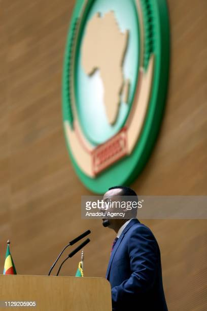 Ethiopia's Prime Minister Abiy Ahmed delivers a speech during an event organized to mark the International Women's Day at African Union building in...