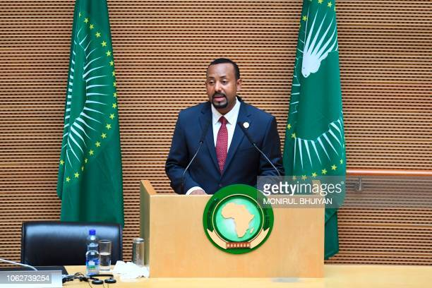 Ethiopia's Prime Minister Abiy Ahmed delivers a speech during the 11th Extraordinary Session of the Assembly of the African Union in Addis Ababa...