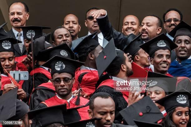 Ethiopia's Prime Minister Abiy Ahmed Eritrea's President Isaias Afwerki and Somalia's President Mohamed Abdullahi Mohamed join the graduation...