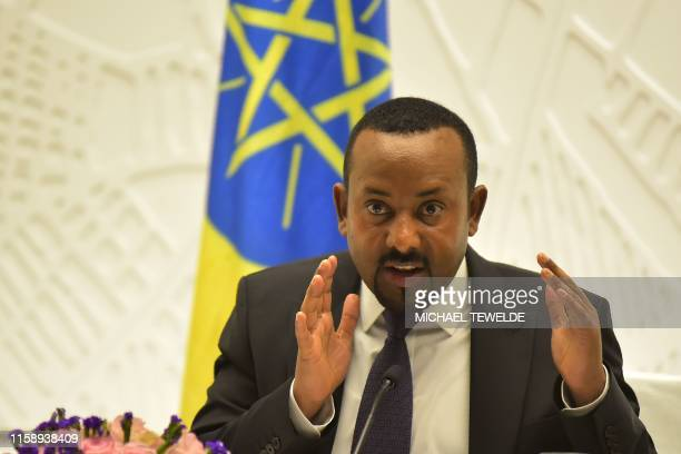 Ethiopia's Prime Minister Abiy Ahmed gives a press conference on August 1, 2019 at the Prime Minister's office in the capital, Addis Ababa.