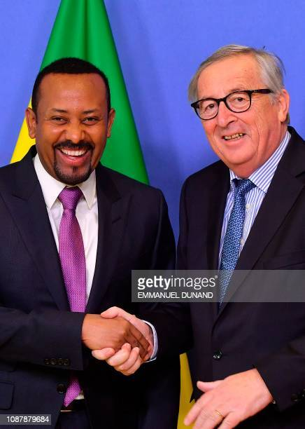 Ethiopia's Prime Minister Abiy Ahmed is welcomed by European Commission President JeanClaude Juncker at the European Commission in Brussels on...