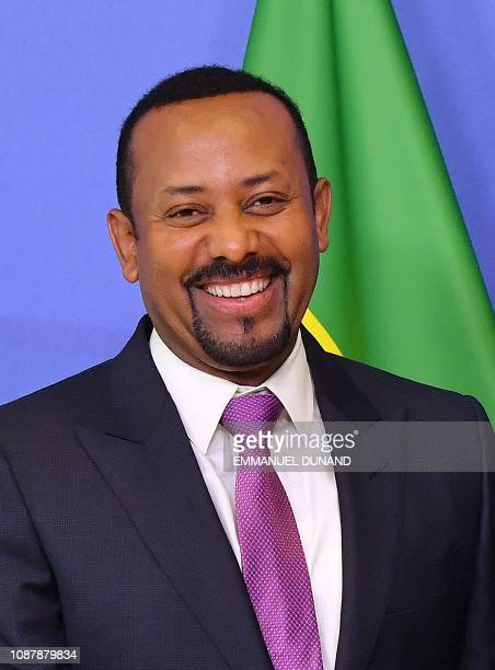 Ethiopia's Prime Minister Abiy Ahmed is welcomed by European Commission President Jean-Claude Juncker at the European Commission in Brussels on...