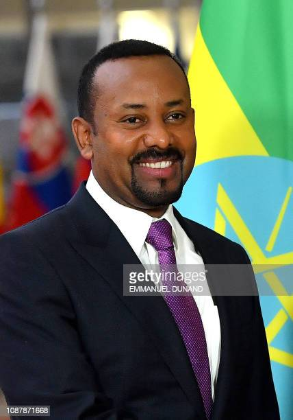 Ethiopia's Prime Minister Abiy Ahmed is welcomed by the European Council president upon his arrival at the European Council in Brussels on January...