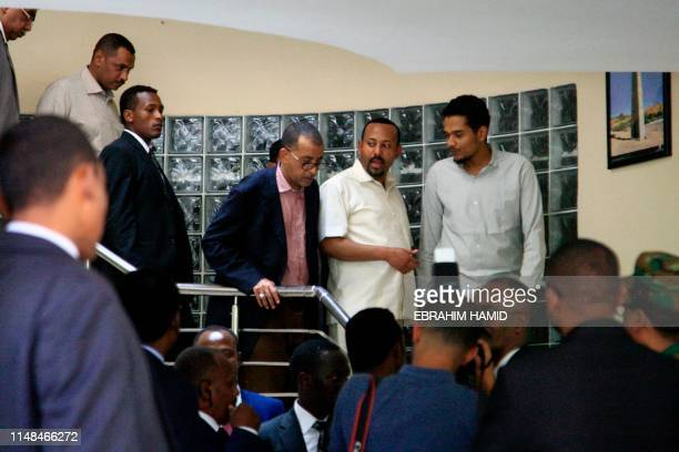 Ethiopia's Prime Minister Abiy Ahmed meeting a delegation of the Alliance of Freedom and Change in the Ethiopian embassy in Khartoum in Khartoum on...