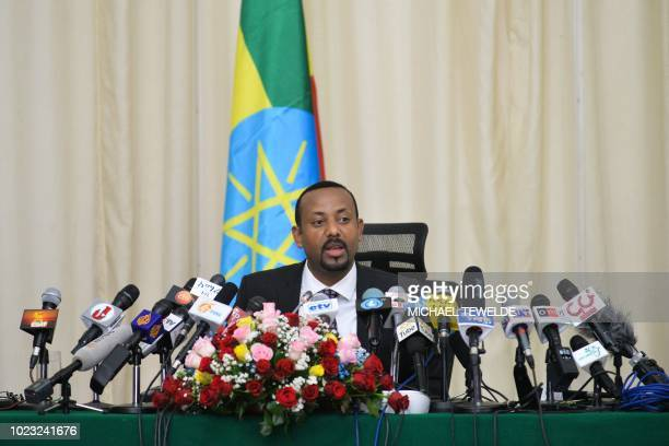 Ethiopia's Prime minister Abiy Ahmed speaks during a press conference at his office in Addis Ababa, on August 25, 2018.