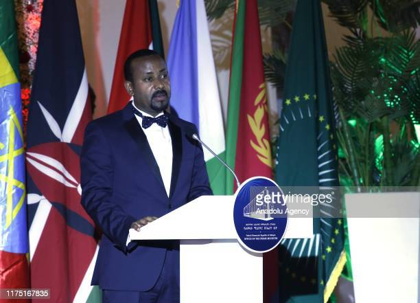 Ethiopia's Prime Minister Abiy Ahmed speaks during the opening ceremony of Unity Park in Addis Ababa Ethiopia on October 10 2019