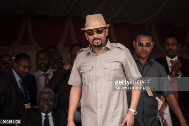 Ethiopia's Prime Minister Abiy Ahmed walks to make his speech during the inauguration ceremony of Djibouti International Free Trade Zone in Djibouti...