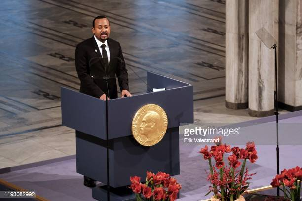 Ethiopia's Prime Minister and Nobel Peace Prize Laureate Abiy Ahmed Ali speaks on stage after being awarded with the Nobel Peace Prize during the...