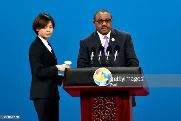 Ethiopia's Prime Minister Hailemariam Desalegn delivers a speech on Plenary Session of High-Level Dialogue, at the Belt and Road Forum on May 14,...