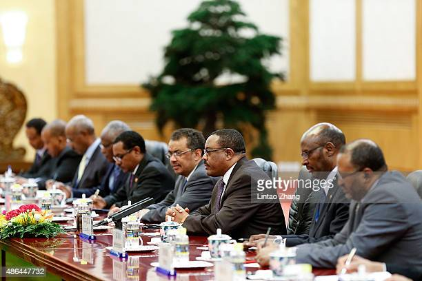Ethiopia's Prime Minister Hailemariam Desalegn meets with Chinese President Xi Jinping at The Great Hall Of The People on September 4 2015 in Beijing...