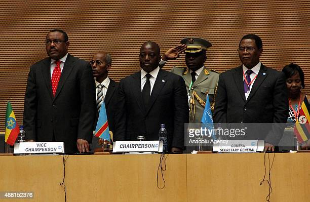 Ethiopia's Prime Minister Hailemariam Desalegn President of Democratic Republic of the Congo Joseph Kabila and Secretary General of the COMESA...