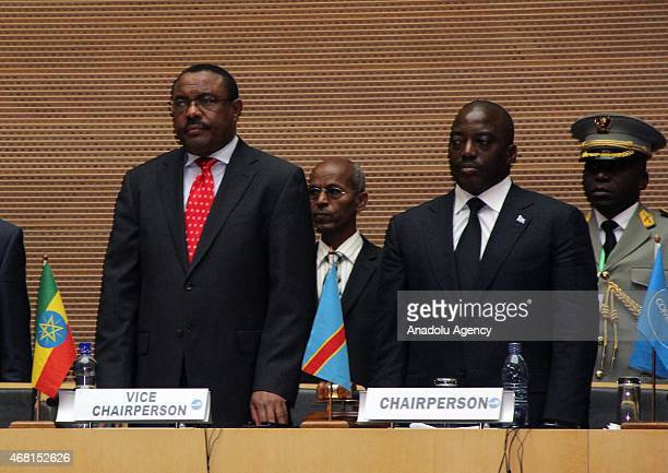 Ethiopia's Prime Minister Hailemariam Desalegn President of Democratic Republic of the Congo Joseph Kabila are seen during the 18th Summit of Common...
