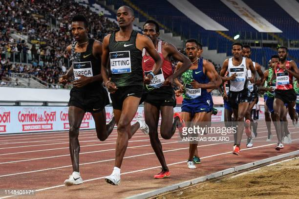Ethiopia's Selemon Barega Kenya's Vincent Letting and athletes compete in the Men's 5000m during the IAAF Diamond League competition on June 6 2019...