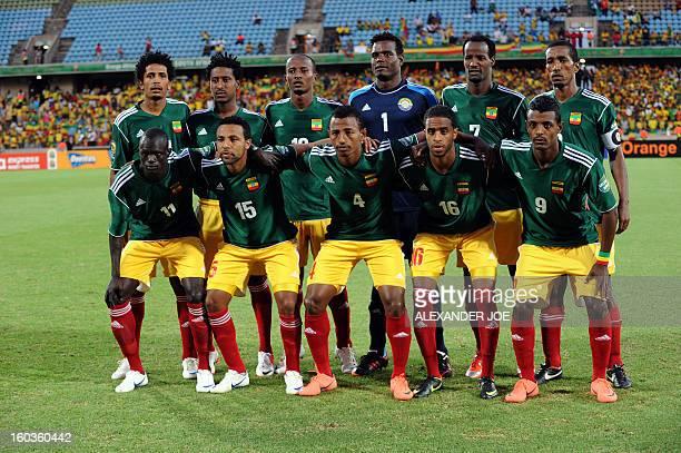 Ethiopia's Team Photo Front Row LR Forward Omed Okwuri Midfielder Dawit Estifanos Defender Abebaw Butako Midfielder Yussuf Saleh Forward Getaneh...
