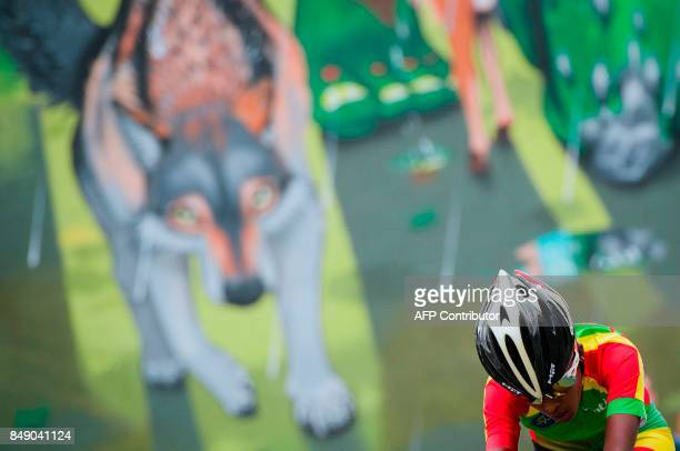Ethiopia's Zayd Hailu competes during the women's junior individual time trial at the UCI Cycling Road World Championships on September 18 2017 in...