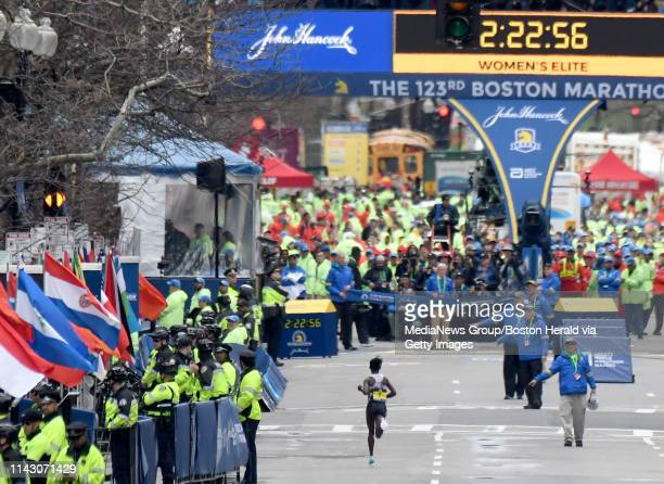 Ethiopiau2019s Worknesh Degefa sales down Boylston Street to the finish line during the 123rd running of the Boston Marathon Monday April 15 in Boston