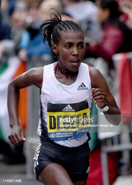 Ethiopiau2019s Worknesh Degefa sales towards Boylston Street during the 123rd running of the Boston Marathon Monday April 15 in Boston