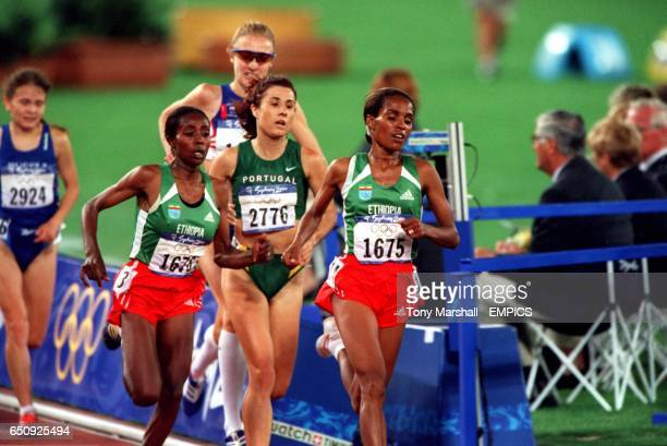 Ethipia's Derartu Tulu makes her move to take Paula Radcliffe on the last lap and head towards Gold followed by Ethiopia's Gete Wami and Portugal's...