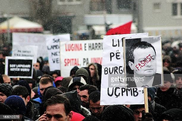 Ethnic Albanians are protesting in Kosovo's capital to show support for their ethnic kin in Serbia's tense southern sector. The protesters chanted...