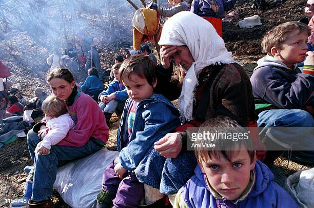 Ethnic Albanians who were chased out of their villages because of renewed fighting in Southern Kosovo yesterday take refuge in woods in the village...
