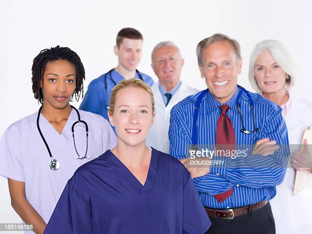 Ethnic and senior healthcare workers