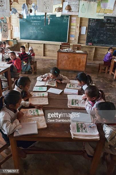 Ethnic Khmu classroom in a rural village, Luang Nam Tha, Laos