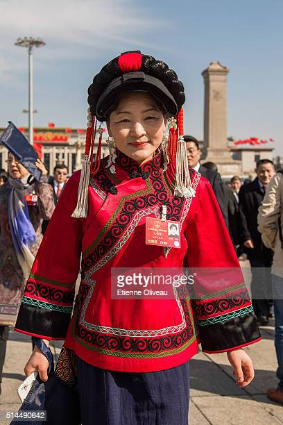 Ethnic minority delegate arrives at the Second plenary session of the National People's Congress on March 9, 2016 in Beijing, China. The 12th...