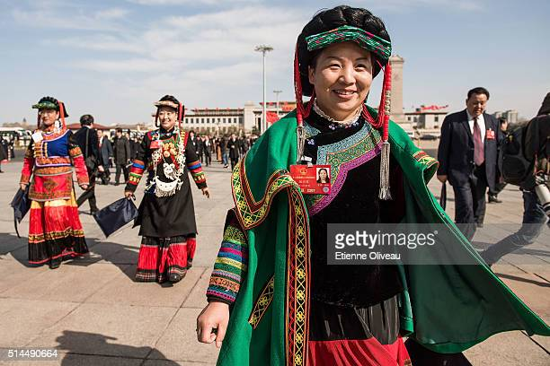 Ethnic minority delegates arrive at the Second plenary session of the National People's Congress on March 9, 2016 in Beijing, China. The 12th...