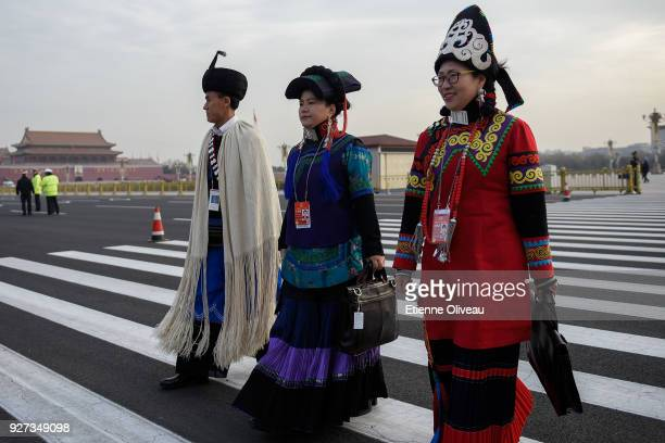 Ethnic minority delegates arrive to attend the opening session of the 13th National People's Congress at The Great Hall of People on March 5 2018 in...