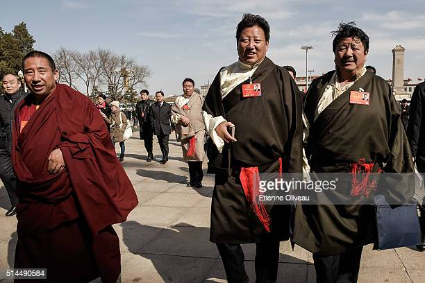 Ethnic minority delegates from Tibet arrive at the Second plenary session of the National People's Congress on March 9, 2016 in Beijing, China. The...