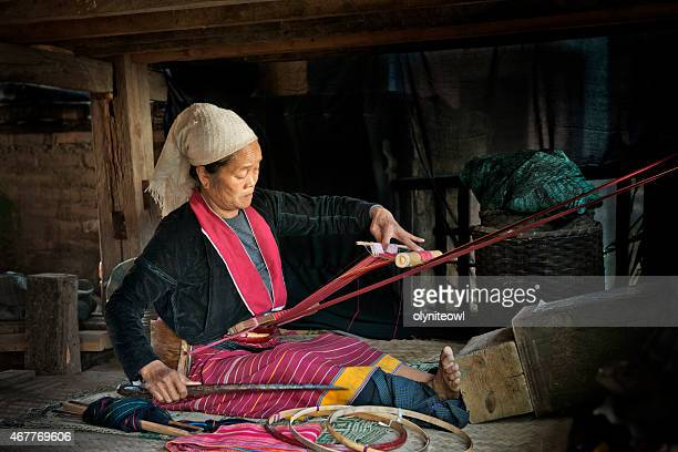 Ethnic Palaung Woman Weaving Cotton Fabric