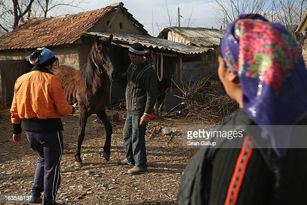 Ethnic Roma Vasile and Valentina Ilie watch as a local veterinarian arrives to administer medicine to one of the couple's two horses that is...