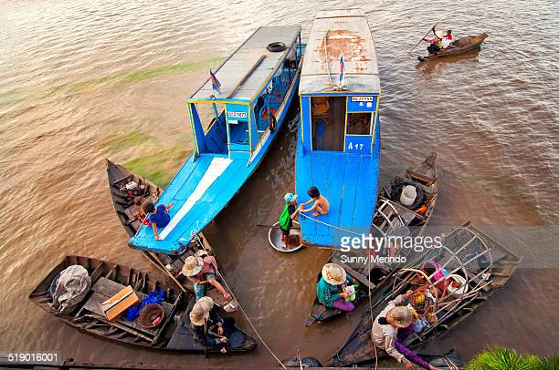 Ethnic Vietnamese and Chams living in floating villages around the Tonle Sap lake south of Siem Reap Cambodia