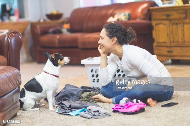 ethnic woman in her 20s folds laundry on the living room floor while her adorable dog keeps her company - mixing stock pictures, royalty-free photos & images