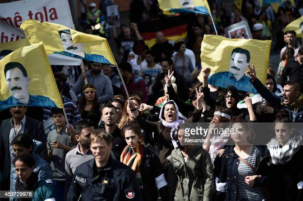 Ethnic Yazidi protest against the ongoing attacks against Yazidi in northern Iraq on August 16, 2014 in Hanover, Germany. Tens of thousands of...