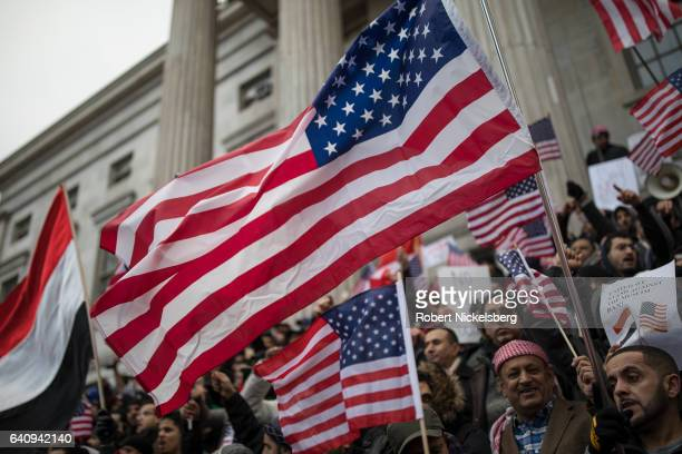 Ethnic Yemenis and supporters protest against President Donald Trump's executive order temporarily banning immigrants and refugees from seven...