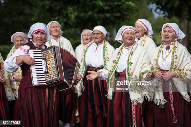 ethnographic ensemble of baltinava - latvia stock pictures, royalty-free photos & images