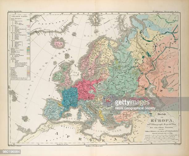 Ethnographic map of Europe Plate '8te Abteilung Ethnographie No 4' from 'Dr Heinrich Berghaus' Physikalischer Atlas' a two volume atlas published by...