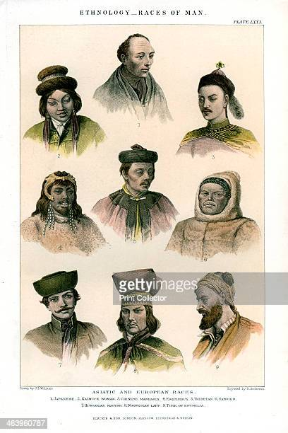 'Ethnology Races of Man' 18001900 Engraving to show the Asiatic and European Races Japanese Kalmuck Woman Chinese Mandarin Esquimaux Thibetan Samoied...