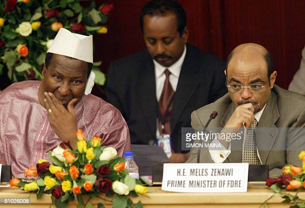 Ethopian Prime Minister Meles Zenawi and African Union Commission President Alpha Oumar Konare 05 July 2004 at the UN headquarters in Addis Ababa...