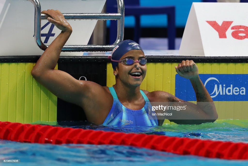 Etiene Medeiros of Brazil celebrates after she wins 50m Backstroke final on day fourteen of the FINA World Championships at the Duna Arena on July 27, 2017 in Budapest, Hungary.