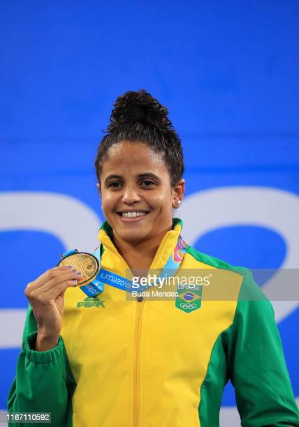 Etiene Pires de Medeiros of Brazil reacts after winning in Women's 50m Freestyle Final A on Day 14 of Lima 2019 Pan American Games at Aquatics Center...