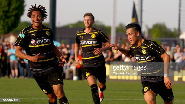 Etienne Amenyido of Dortmund celebrates the second goal with Etienne Amenyido of Dortmund during the U19 German Championship Semi Final second leg...