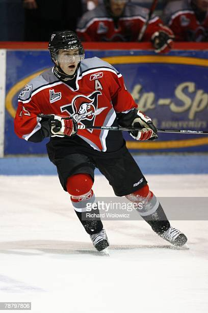 Etienne Bellavance-Martin of the Drummondville Voltigeurs skates during the game against the Rouyn-Noranda Huskies at the Centre Marcel Dionne on...