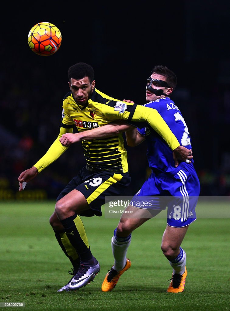 Etienne Capoue of Watford and Cesar Azpilicueta of Chelsea compete for the ball during the Barclays Premier League match between Watford and Chelsea at Vicarage Road on February 3, 2016 in Watford, England.
