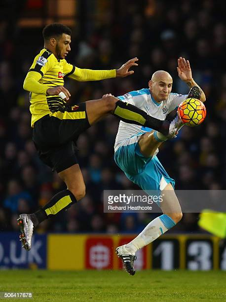 Etienne Capoue of Watford and Jonjo Shelvey of Newcastle United compete for the ball during the Barclays Premier League match between Watford and...