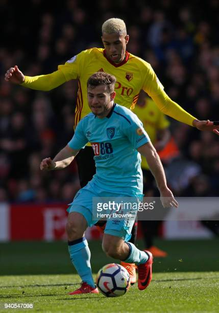 Etienne Capoue of Watford and Ryan Fraser of AFC Bournemouth during the Premier League match between Watford and AFC Bournemouth at Vicarage Road on...